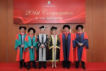 (From left) Professor Andrew Michael SPENCE, Dr David SIN Wai Kin, President & Vice-Chancellor Professor Xiang ZHANG, The Chancellor The Honourable Mrs Carrie LAM CHENG Yuet Ngor, the Honourable Chief Justice Geoffrey MA Tao Li, the Honourable Mr Justice Roberto Alexandre Vieira RIBEIRO
