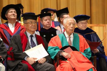 Professor Hu Yao Su, Academic Vice-President of the Hong Kong Shue Yan University and Dr. The Honourable Henry Hu Hung Lick, Doctor of Social Sciences <i>honoris causa</i>.